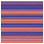 [ Thumbnail: Red and Blue Stripes/Lines Pattern Fabric ]