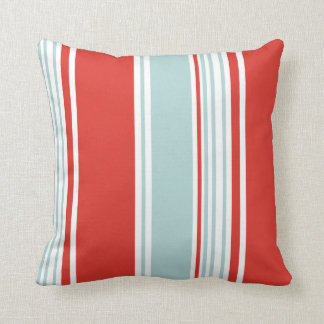 Red and Blue Stripes Throw Pillow