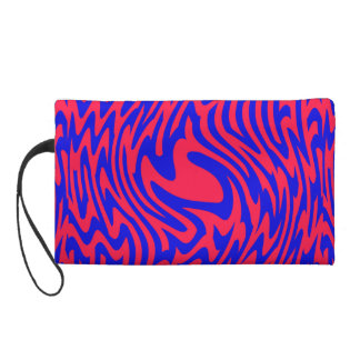 Red and Blue Swirl ZigZag Wristlet Purse