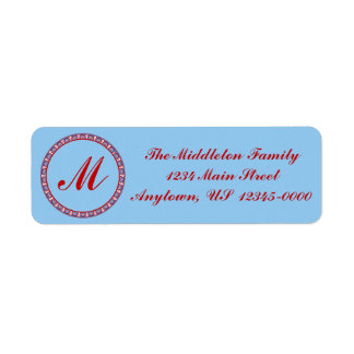 Red and Blue Thai Style Round Monogram Frame Label