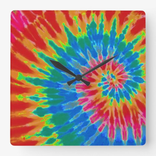 Red and Blue Tie Dye Clock