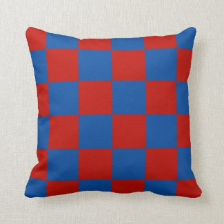 Red and Blue Tiles Throw Pillow