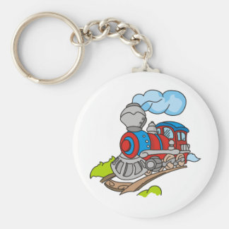 Red and Blue Train Basic Round Button Keychain