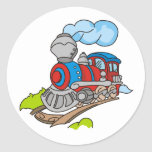 Red and Blue Train Classic Round Sticker