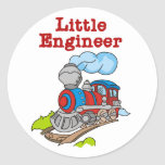 Red and Blue Train Little Engineer Round Stickers
