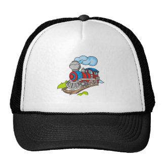 Red and Blue Train Trucker Hat