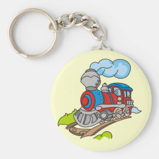 Red and Blue Train Tshirts and Gifts Keychain