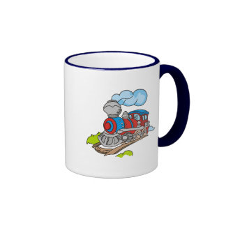 Red and Blue Train Tshirts and Gifts Ringer Coffee Mug