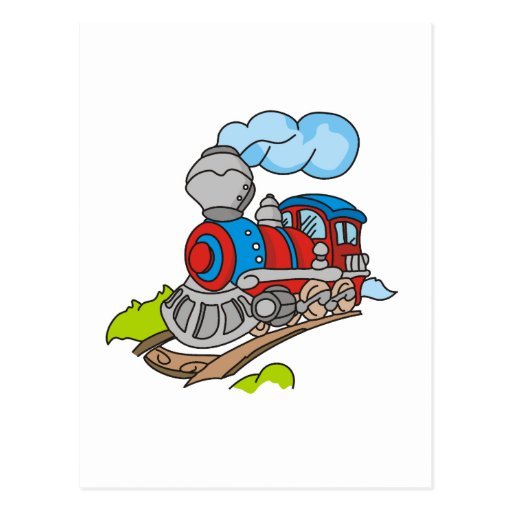 Red and Blue Train Tshirts and Gifts Post Card