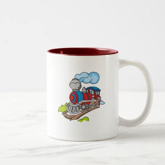 Red and Blue Train Tshirts and Gifts Two-Tone Coffee Mug