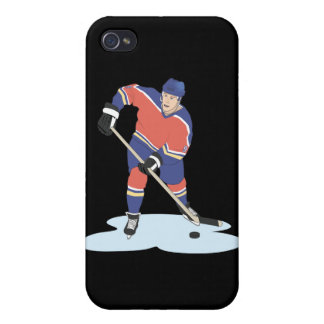 red and blue uniform ice hockey player vector grap case for iPhone 4