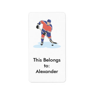 red and blue uniform ice hockey player vector grap label