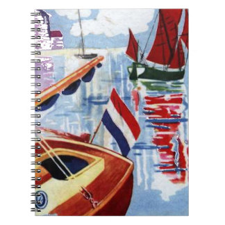 Red and Blue Vintage Boats At Anchor Notebook