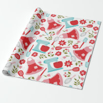Red and Blue Vintage Kitchen Pattern Wrapping Paper