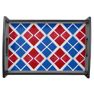 Red and Blue Wall Tiled Symmetry Food Tray