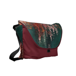 Red and blue water reflections abstract courier bag