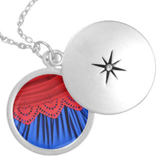 Red and Blue Waves Locket Necklace