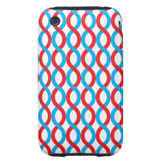 Red and Blue Waves Pattern iPhone 3 Tough Cover