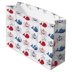 Red And Blue Whales Anchor Large Gift Bag