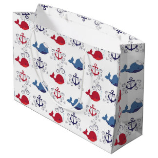Red and Blue Whales and Anchor Large Gift Bag