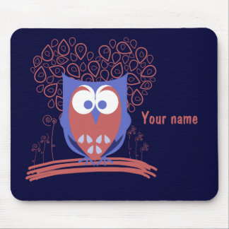 Red and Blue Whimsical Cute Owl mousepad