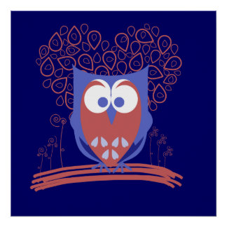Red and Blue Whimsical Cute Owl Poster print
