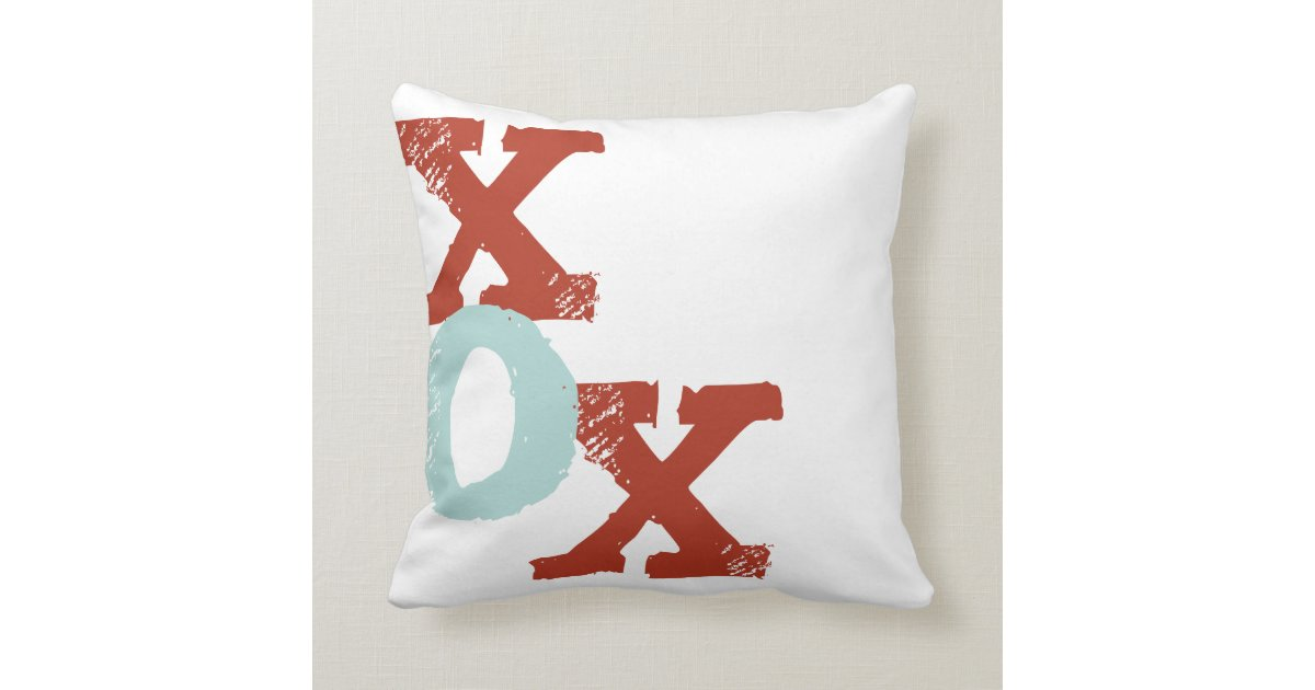 red and blue xox pillow zazzle