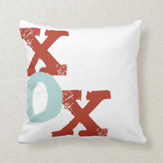 Red and Blue XOX Throw Pillow