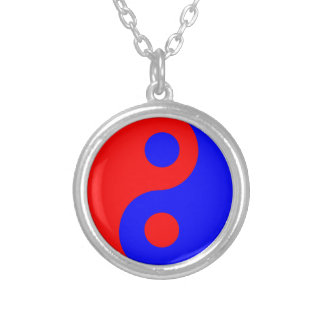 Red and Blue Yin Yang Symbol Necklace
