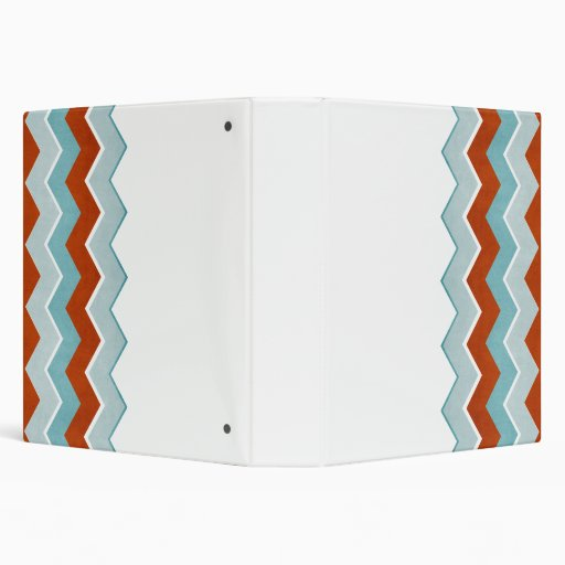 Red and Blue Zig Zag Pattern 3 Ring Binders