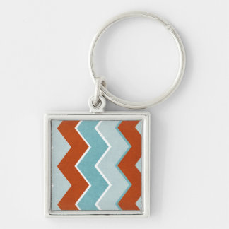 Red and Blue Zig Zag Pattern Keychain