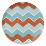 Red and Blue Zig Zag Pattern Plates