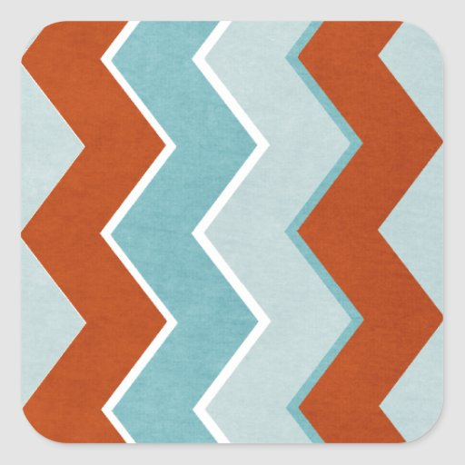 Red and Blue Zig Zag Pattern Square Sticker