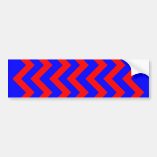 Red and Blue Zig Zags Bumper Sticker