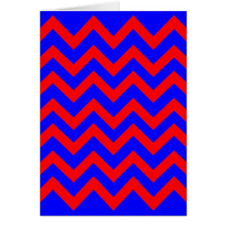 Red and Blue Zig Zags Greeting Cards
