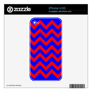 Red and Blue Zig Zags Decal For iPhone 4S