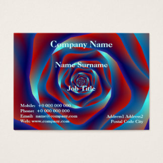 Red and Blues Spiral Rose Chubby Business Card