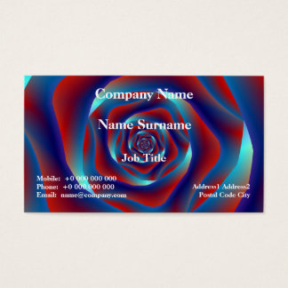 Red and Blues Spiral Rose Classic Business Card