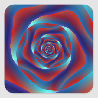 Red and Blues Spiral Rose Sticker