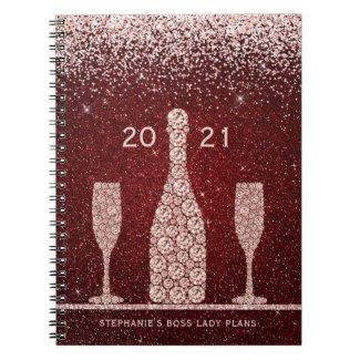 Red and Blush Glitter Champagne Set 2021 Boss Lady Notebook