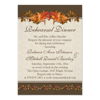 Red and brown Autumnal leaves Rehearsal Dinner Card