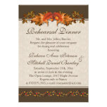 Red and brown Autumnal leaves Rehearsal Dinner Custom Invites