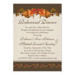 "Red and brown Autumnal leaves Rehearsal Dinner 5"" X 7"" Invitation Card"