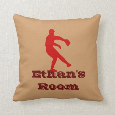 Red and Brown Baseball Pillow (personalize)