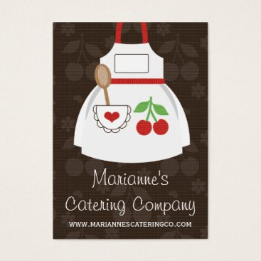 Professional Business Red and Brown Cherry Heart Apron Business Cards