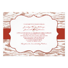 Red and Brown Chic Wood Grain Wedding Invitation