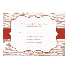 Red and Brown Chic Wood Grain Wedding rsvp Announcements