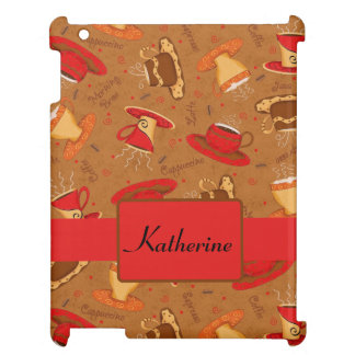 Red and Brown Coffee Cups Art Pattern Case For The iPad