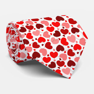 Red and brown color heart pattern neck tie