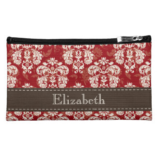 Red and Brown Damask Cosmetic Bag